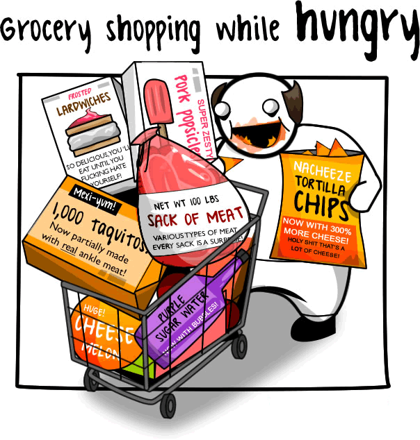 grocery shopping hungry