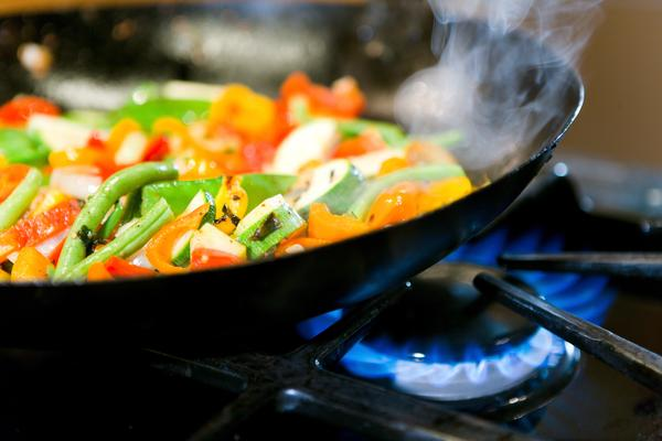 cooking vegetables frying pan